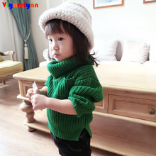 Kids Green Turtleneck Thickening Sweater Winter Children Clothing Baby Boys Hand Knitted Garment Toddler Girl Christmas Knitwear(China)