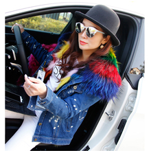 brand 2017 winter jacket coat women Holes Denim jacket natural real large raccoon fur collar and real Fox fur thick warm Liner