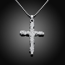 Jesus Cross Pendant & Necklace Women/Men Christmas Gifts Wholesale Trendy 925 sterling silver Christian Jewelry