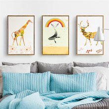 Leaves Flower Pattern Giraffe Deer Canvas Mural Poster Simple Whale Nordic Cartoon Wall Art Painting for Children Room Ornaments