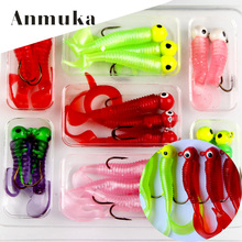 Anmuka Fishing Jigs Lures Sea Bass Soft Bait Jig Head Twirl Tails Worm Baits 17Pcs/Lot Fishing Tackles