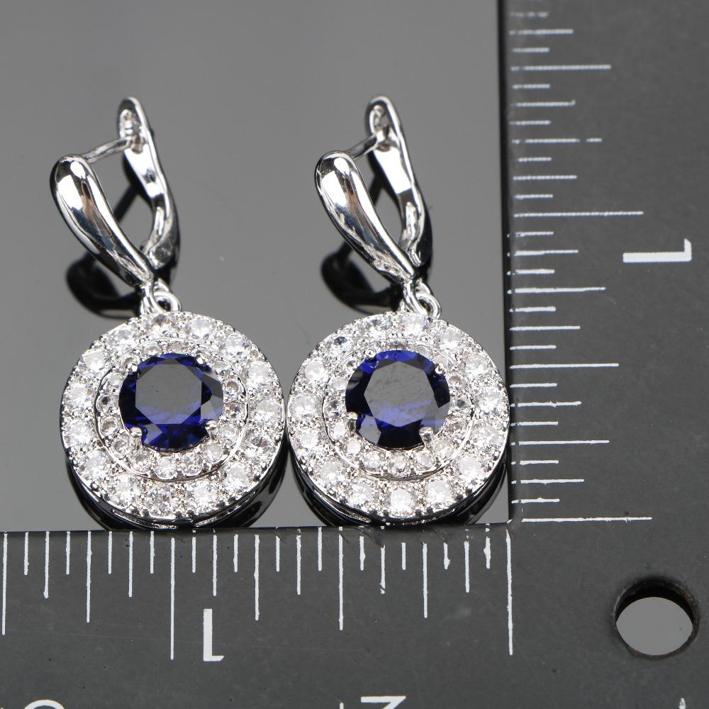 طقم مجوهرات  الأزرق الزركون فضية 925 3