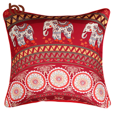 BeddingOutlet Mandala with Elephant Messenger Cushion Cover Red Bohemia Pillow Cover for Sofa Home Decor 45cmx45cm 70cmx70cm