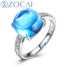 ZOCAI 2014 New Arrival THE BLUE SECRET 7.0 CT natural genuine blue topaz with 0.12 ct real diamond 18K white gold ring W05471
