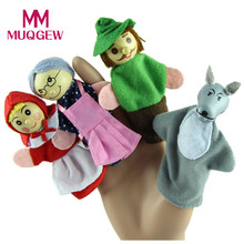 4PCS Little Red Riding Hood Cartoon Finger Puppets Christmas Gifts Baby Finger puppet(China)