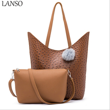 New Design Composite Bag Ostrich Pattern Fashion Shoulder Bag Women Top-HandBags Messenger Bags PU Leather  Handbag Set