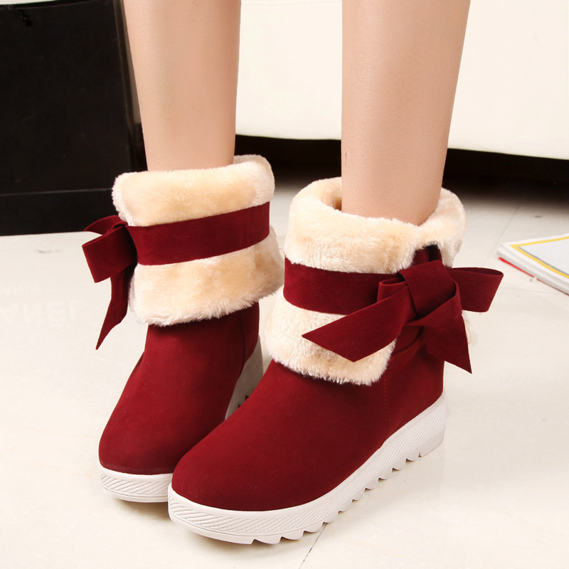 2016 Winter New Super Warm  Women Ankle Boots Height Increasing 4cm Bowtie Winter Shoes Women Snow Boots<br><br>Aliexpress