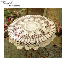 DIY Handmade Crochet Lace Tablecloth Country Round Tea Table Mats Wedding Party Decorative Table Cover Placmat 70-120CM(China)