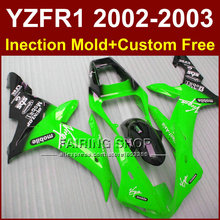 Hot sale mobile green custom fairing for YAMAHA bodyworks 02 03 YZF1000 YZF R1 2002 2003 yzf r1 body parts Aftermarket +7gifts