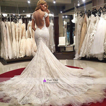 Extravagant sweetheart white lace beading mermaid wedding dresses backless with chapel train bridal gowns princess bridal dress