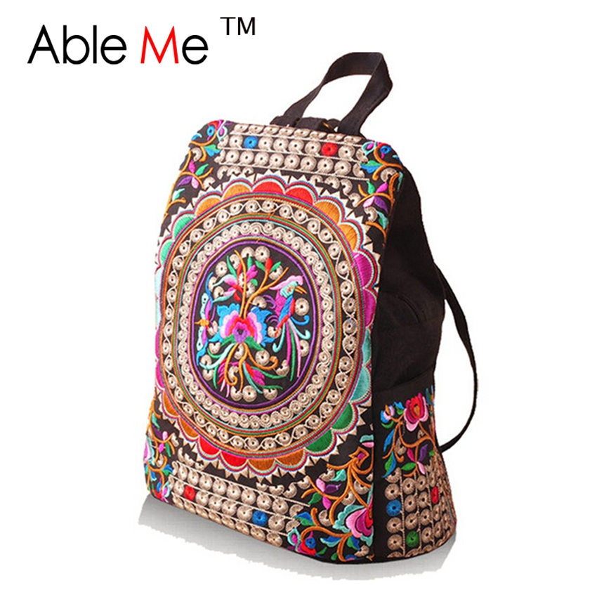 Hot Sale 2017 Ethnic Canvas Embroidery Backpack Women Handmade Flower Embroidered Travel Bags School Stylish Backpack For Women<br><br>Aliexpress