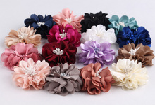 (30pcs/lot)2'' Mini Luxury Fabric Fold Matt Flowers Artificial Flower With Commelina Center Flatback Mesh Hair Flower(China)