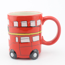 Cartoon Double Decker Bus London Puckator Bus Mugs Hand Painting Retro Ceramic Cup Coffee Milk Tea Mug Drinkware Novetly Gifts(China)