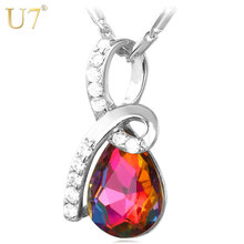 U7 Red Jewelry Necklace Gold/Silver Color AAA Cubic Zirconia Fashion Necklace For Women Romantic Gift P649(China)