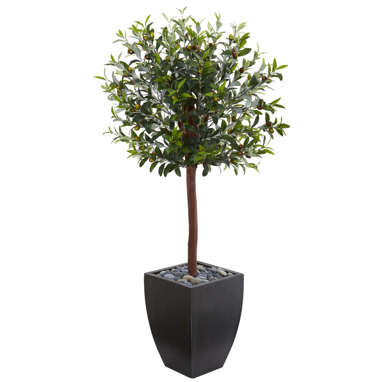 Nearly Natural 4.5\' Olive Topiary Artificial Tree in Black Washed Planter