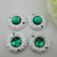 (PB85 30mm)20pcs Dark Green Acrylic Resin Button Rhinestone Embellishment Without Loop