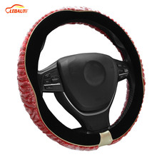 "LEDAUT Auto Steering Wheel Cover Premium Wool Plush Pink Durable Velvet Black 38cm/15""Universal Fit For Winter"