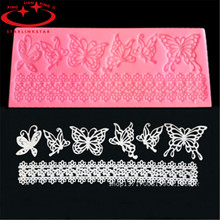 1 Pcs Butterfly Shape Silicone Lace Mold  Flower Sugar Fondant Cake Mould Christmas Cake Decoratin Molds Baking Tools