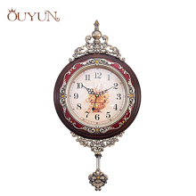 OUYUN Fashion Luxury Wooden Pendulum Wall Clocks Vintage Mute Creative Living Room Design Handmade Large Wood Clock Wall Decor