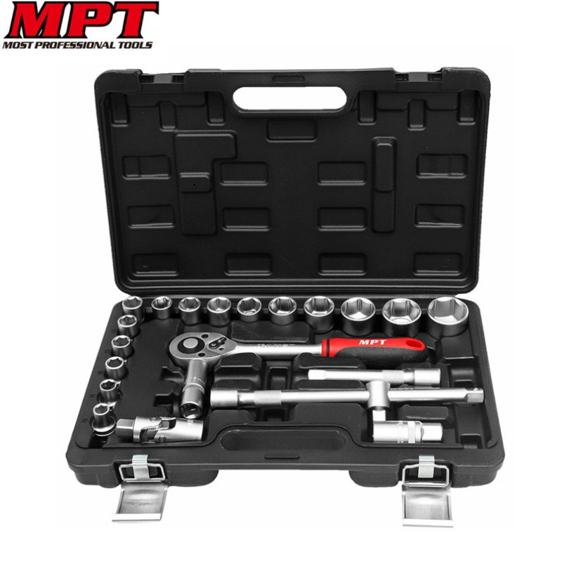 MPT 22pcs 1/2 Socket Set Metric Ratchet Torque Wrench Auto Car Repair Hand Tool Kit Universal Quick Release Extension Bar Case<br>