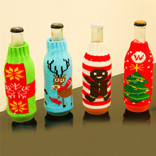 Christmas Type Beer Bottle Cover Christmas Gift Bag Crafts Wine Bottle Cover Dinner Party Table Decor Festive New Year Supplies(China)