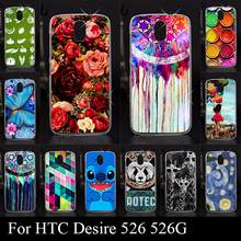 Case For HTC Desire 526 526G Colorful Printing Drawing Transparent Plastic Mobile Phone Cover For Hard Phone Cases