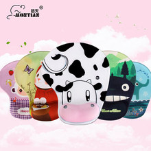 Soft comfortable mouse pad with wrist rest and various cartoon animal pictures for laptop and desktop computer(China)