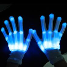 Pair of LED Lighting Gloves Flashing Fingers Rave Gloves Colorful Gloves for Light Show (Blue)