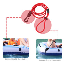 1PCS 113cm Elastic Coiled Paddle Leash for Kayak Canoe Rowing Boat Safety Rod Leash Nylon Rubber Surfing Leash Stretch to 1.9M