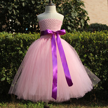 New Girls Pink Wedding Tutu Dress Kids Fluffy Crochet Tulle Tutus Ball Gown with Purple Ribbon Bow Children Cheap Party Dresses(China)
