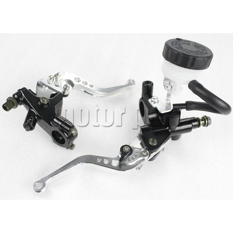 7/8 Universal Handlebar Brake Clutch Lever Master Cylinder Fluid Reservoir Kits For Honda Yamaha Suzuki Kawasaki Aprilia Silver<br>