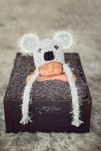 free shipping,Newborn Koala Hat, Crocheted Baby Animal Hat, Winter Hat and Funky Photography Prop . Newborn Beanies caps(China)