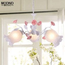 Korean garden iron Flower fashion simple glass art pendant lamps warm bedroom Restaurant 3 heads pendant lights