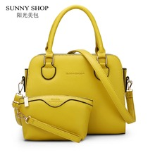 SUNNY SHOP 2 Bag/set European American Style Small Women Shoulder Bags High Quality Leather Women Handbag and Purse For Girls(China)