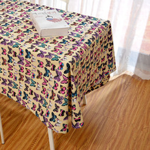 Latest High Grade Eco Beautiful Colorful Blue Pink Butterfly Table Cloth Animal Table Cover on Desk Linen Girl Home Decor(China)