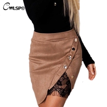 CWLSP Autumn Winter Pencil Skirt Women Mini Suede Skirts Sexy Lace saias with Button 2017 Fashion Solid high waist faldas QL3458(China)