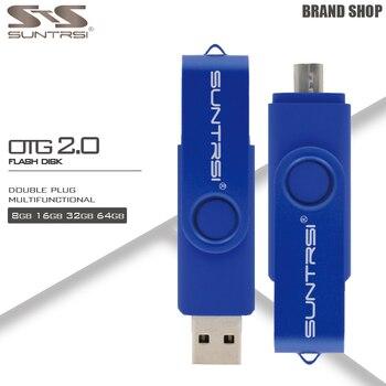 Suntrsi Micro OTG USB Flash Drive 32 GB Métal Pendrive 16 GB Haute vitesse Externe De Stockage Pen Drive pour Android USB Bâton Flash 2.0