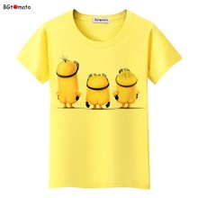 BGtomato lovely Naked Minions cute t shirt women Popular famous 3D cartoon shirts Brand good quality comfortable casual shirts