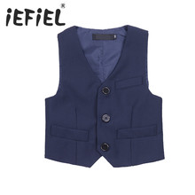 iEFiEL Spring and Autumn Boy Vests Kids Boys Gentleman Formal Suit Vest Waistcoat Pageant Wedding Party Jacket Coat SZ 3-12Y(China)