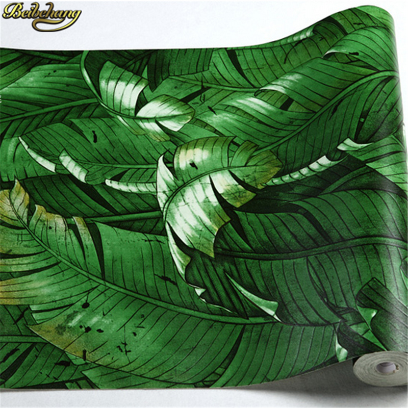 beibehang papel de parede 3D Southeast Asian banana leaves wall papers home decor green wallpaper roll for walls 3 d living room<br>