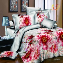 2017 Spring 3D printing peony flower design Bedding sets duvet cover sets Quilt cover bed sheet pillowcase Queen size