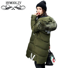 Winter Women Long Hair Collar Hooded Cotton Jacket 2017 Warm Students Leisure Army Green Cotton Jacket Coat Women  ls319