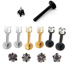 1.2x10x3mm 16G Gold Titanium Anodized Internally Threaded Prong Top Gem Labret lip piercing Zircon labret ring Tragus Earring