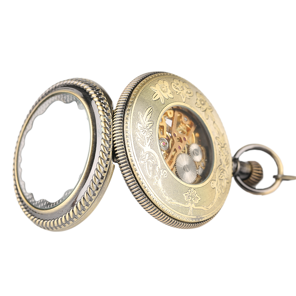 YISUYA Elegant Women Vintage Mechanical Pocket Watch Stempunk Skeleton Hand Winding Pendant Clock for Men Kid Xmas Watch Gift (5)