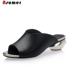 Asumer 2017 Genuine leather shoes summer sandals solid big size 32-42 low heels shoes fashion elegant women party