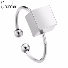 Big Promotion Silver Gold Plateing Square Cube Charm Rings Geometrical Design For Women Open Infinity Fashion Original Jewelry