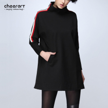 [cheerart] Original Women Black Long Sleeve Fashion Dress Loose Pocket Turtleneck Autumn A Line Dresses Clothing