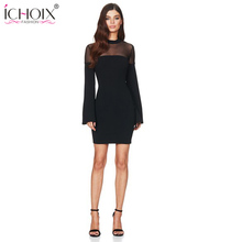 Buy women Bandage dress Sexy O-Neck Flare Sleeve Knee Mini Dress 2018 Bodycon Black White Sheath Mesh Women Sexy Club Dresses for $5.99 in AliExpress store