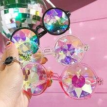 Kaléidoscope ronde lunettes de Soleil Femmes rave festival Lunettes Hommes  Holographique lunettes de Soleil Coloré Party 921da460d996