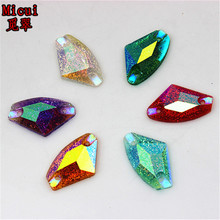Micui 50pcs 11.5*19mm AB Color irregular shape Resin Rhinestones Sew On Flatback Beads For Clothes Dress DIY Craft No hole ZZ114